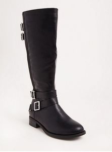 Torrid wide width wide calf tall faux leather boot